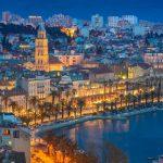 Split. Beautiful romantic old town of Split during twilight blue hour. Croatia,Europe.