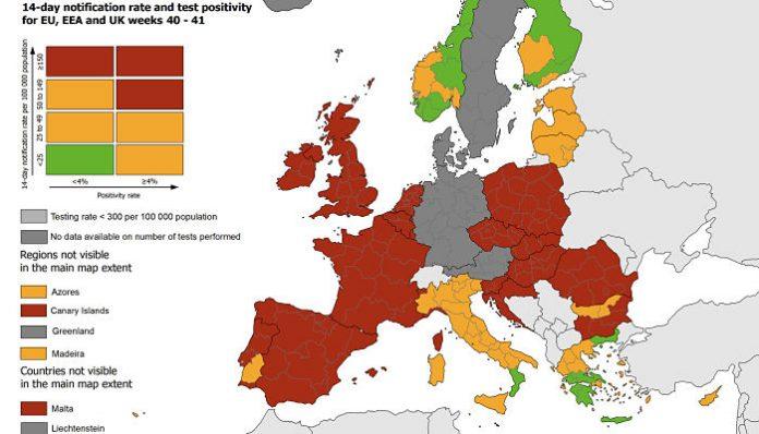 LA UE CREA UN MAPA DE INCIDENCIA DEL COVID-19 POR DESTINO